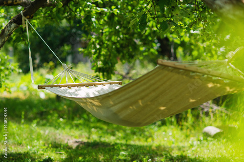 Obraz na plátně Summer garden with hanging hammock for relaxation