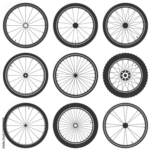 Bicycle wheel symbol,vector. Bike rubber. Mountain tyre. Valve. Fitness cycle.MTB. Mountainbike. Wall mural