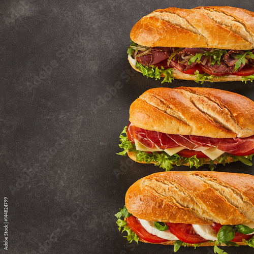Recess Fitting Snack Three different types of gourmet sandwiches