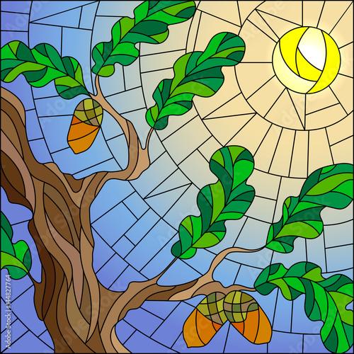 ilustracja-w-witrazu-stylu-z-zielonymi-galaz-debowy-drzewo-na-nieba-sloncu-i-tle