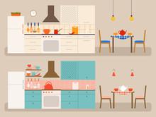 Vector Interiors Of Kitchen. T...
