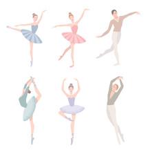 Set Of Ballet Dancer. Vector I...