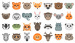 Cute cartoon animals heads set.