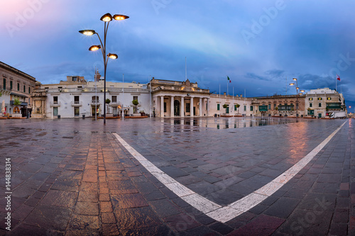 City on the water Panorama of Saint George Square on the Rainy Morning, Valletta, Malta