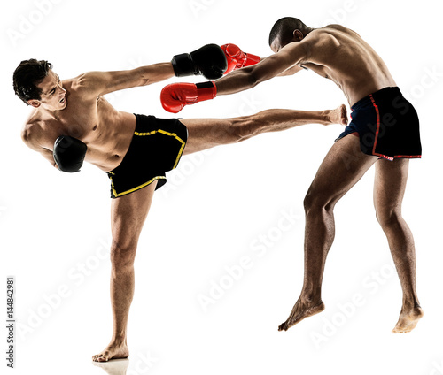 two caucasian Muay Thai kickboxing kickboxer thai boxing men isolated on white b Fototapet