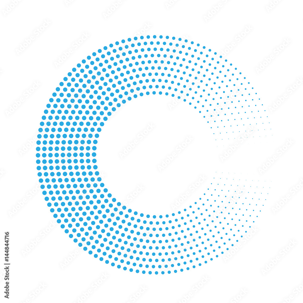 Abstract ring of blue dots. Halftone effect with gradient. Modern design vector background.