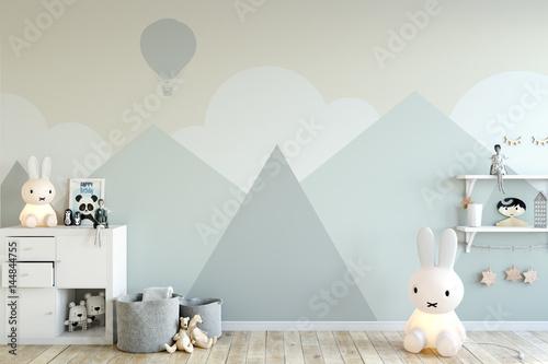 Fotografie, Obraz  mock up wall in child room interior