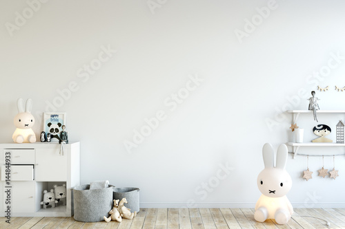 Fotografia  mock up wall in child room interior