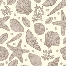 Sea Shells, Sea Stars And Corals Seamless Background. Vintage Shabby Seamless Pattern For Textile, Print, Wallpaper. Sea Life Pattern.