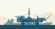 Sea Offshore Oil Drilling Rig And Tanker Silhouettes. Detail Vector Illustration.