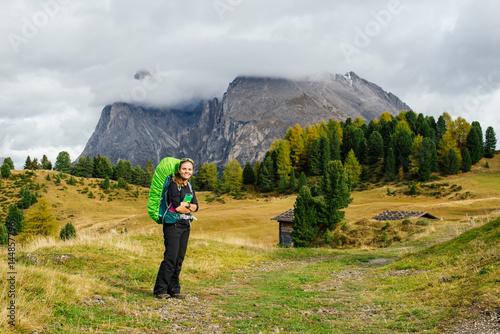 Fototapeta Trekker in Dolomite mountains, Italy obraz na płótnie