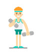 Sporty boy doing exercise with dumbbells isolated on white background vector illustration. Bodybuilding exercise, crossfit training concept in flat design.