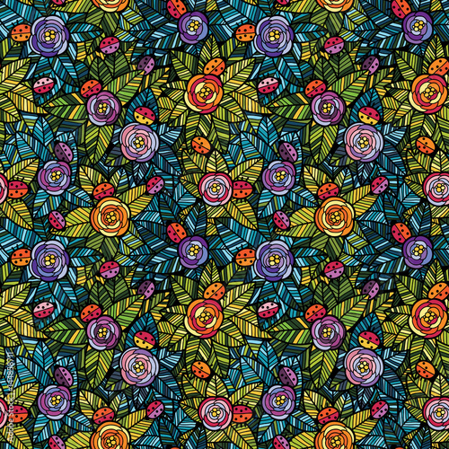 Flowers and ladybirds seamless pattern