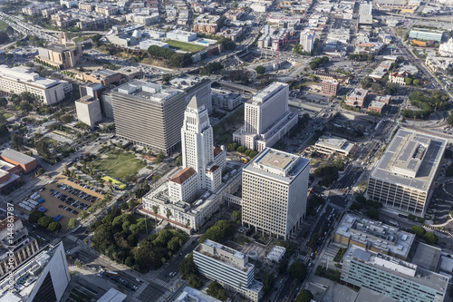 Foto op Plexiglas Texas Afternoon aerial view of Los Angeles Civic Center and City Hall buildings.