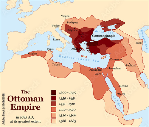 Carta da parati Turkish history - The Ottoman Empire at its greatest extent in 1683 - overview map of its territory expansion and military acquisition in Europe, Asia and Africa - vector illustration