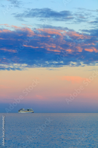 Beautiful seascape with vessel and sunset Wallpaper Mural