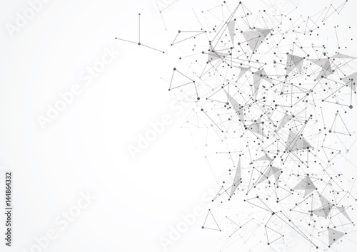 Fotografia  Abstract polygonal with connecting dots and lines