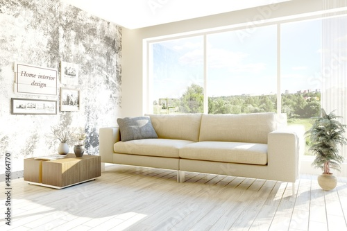 Poster Blanc White room with sofa and green landscape in window. Scandinavian interior design. 3D illustration