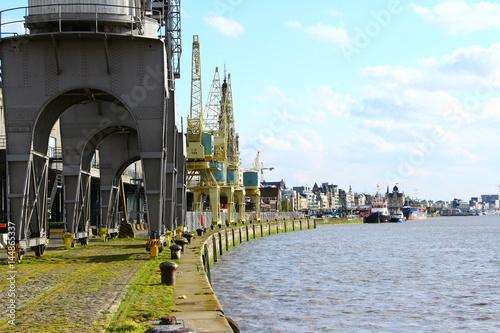 Foto op Plexiglas Antwerpen Beladekräne im Hafen von Antwerpen