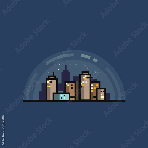 Minimalistic flat vector illustration or icon of night city scene with skyscrapers and stars in the sky