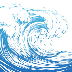 FototapetaGreat wave hand drawing illustration