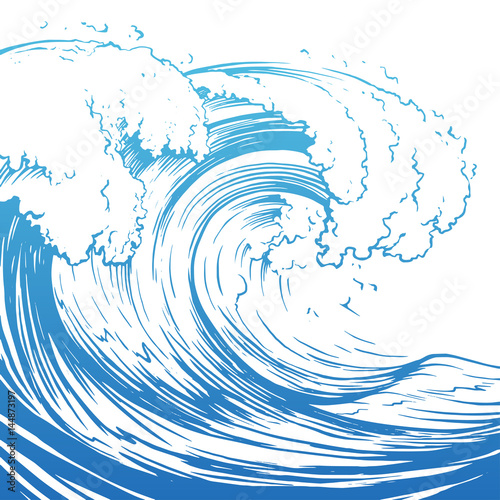 Great wave hand drawing illustration Wallpaper Mural