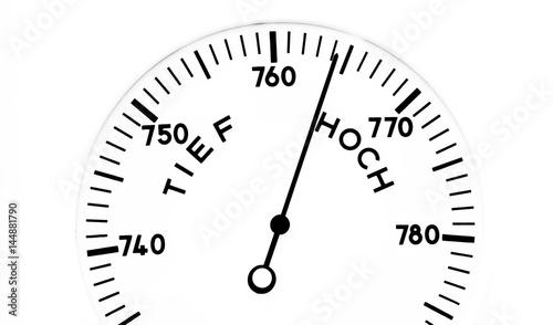 Barometer zeigt ein Hochdruckgebiet an Canvas Print