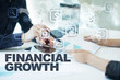 financial growth on virtual screen. Business, technology and internet concept.
