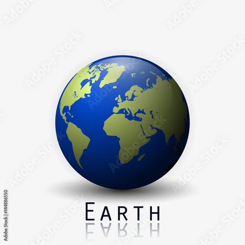 Realistic earth vector illustration 3d planet icon world map realistic earth vector illustration 3d planet icon world map gumiabroncs Choice Image