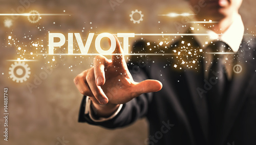 Fotomural  Pivot text with businessman
