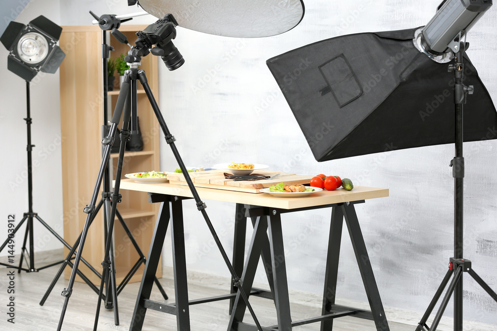 Fototapety, obrazy: Interior of professional photo studio while shooting food