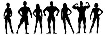 Set Of Bodybuilders Vector Sil...