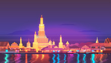 Vector Illustration. Thailand. Travel Around