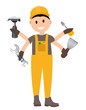 Construction Worker Flat Character, Building Man Specialists Rea