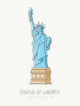 Statue Of Liberty In Scribble Linework Style