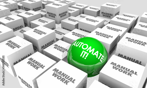 Photo Automate It Vs Manual Work Automation Tasks Sphere Cubes 3d Illustration