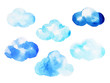 Leinwandbild Motiv cloud watercolor painting hand drawing on paper design illustration with clipping path