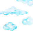 Leinwandbild Motiv cloud watercolor painting hand drawing on paper design illustration