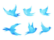 Free Birds Flying Pattern Minimal Watercolor Painting Hand Drawn Design Illustration With Clipping Path