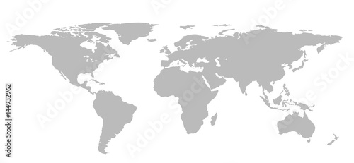 Blank Grey World map isolated on white background. infographics ...