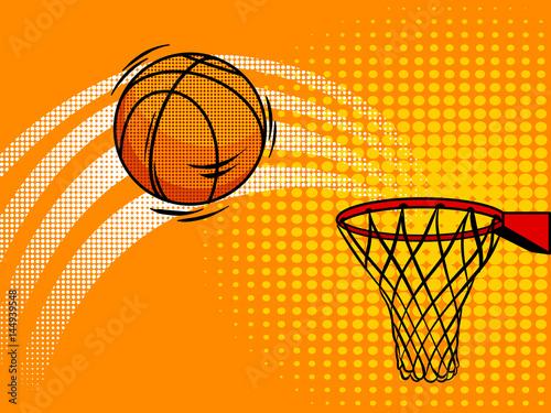 Basket ball pop art style vector illustration