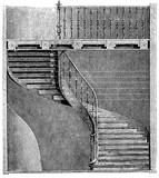 vintage grawerowanie szczegółów spiralnych schodów z XIX wieku - 144944763
