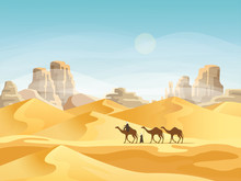 Desert With Convoy Or Camel Ca...