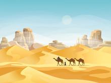 Desert With Convoy Or Camel Caravan