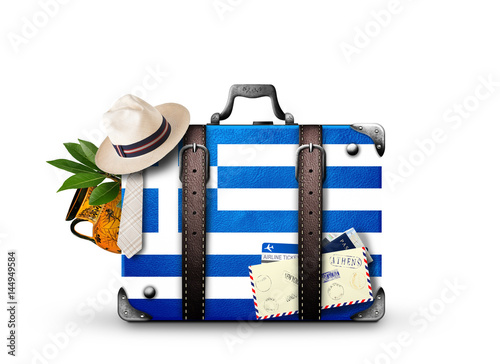Canvas Prints Athens Greece, vintage suitcase with Greece flag