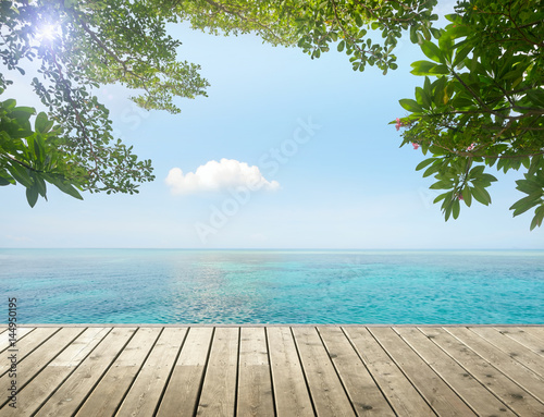 Deurstickers Tropical strand Beauty tropical seascape on background blue cloud sky. View from wood pier