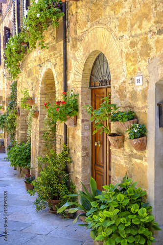 Printed kitchen splashbacks Narrow alley streets of Italian city Pienza in Tuscany