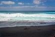 Leinwandbild Motiv Front view of waves on a black sand beach on Playa del Paso in Lanzarote, Canary Islands, Spain