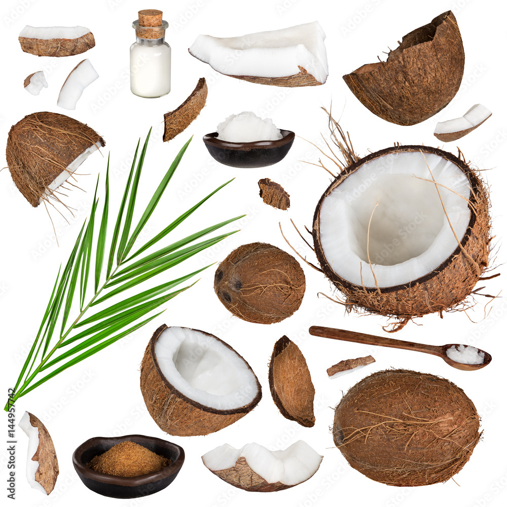 Stampe  close-up of a coconut collection on white background