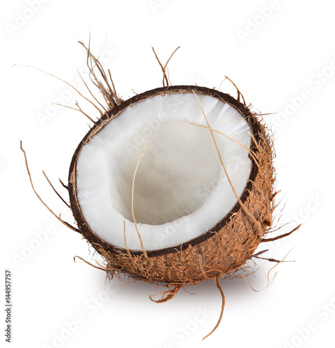 Stampa su Tela  close-up of a coconut on white background